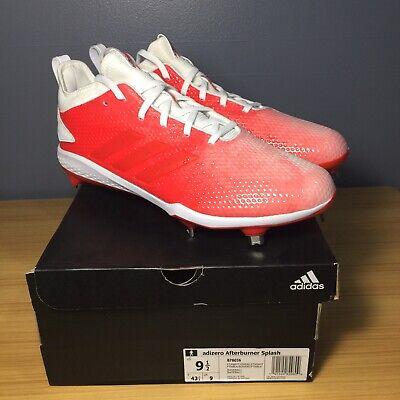 best service 55ea1 a3857 Adidas adizero Afterburner V Splash Baseball Cleats Red White B76036, Men  9.5 D