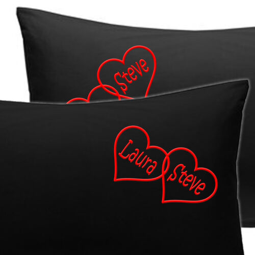 PERSONALISED+HEARTS+pillow+cases+Cotton+Anniversary+Husband+Christmas+gift+Wife