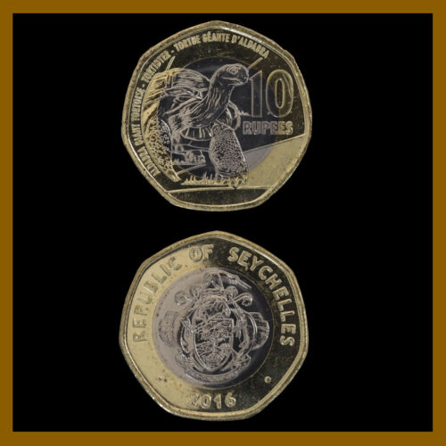 Seychelles 10 Rupees Bimetallic Coin, 2016 Turtle Unc