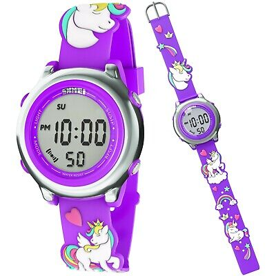 Kids Digital Watch For Girl Cute 3D Unicorn Silicone Strap Toddler Birthday Gift