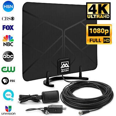 Digital HDTV Antenna Amplified Indoor HD TV 60-Mile 1080p 4K