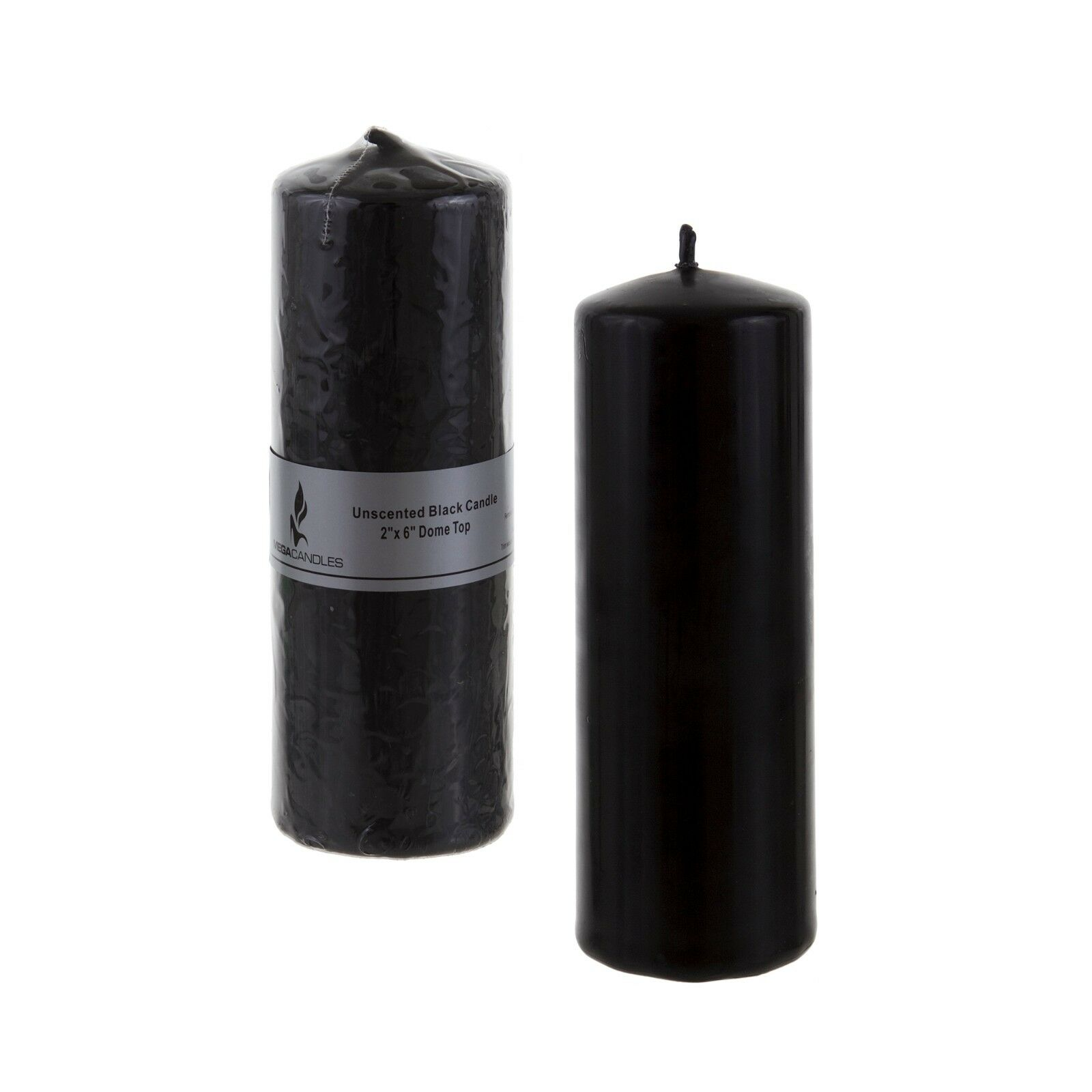"Mega Candles - Unscented 2"" x 6"" Round Pillar Candle - Black"