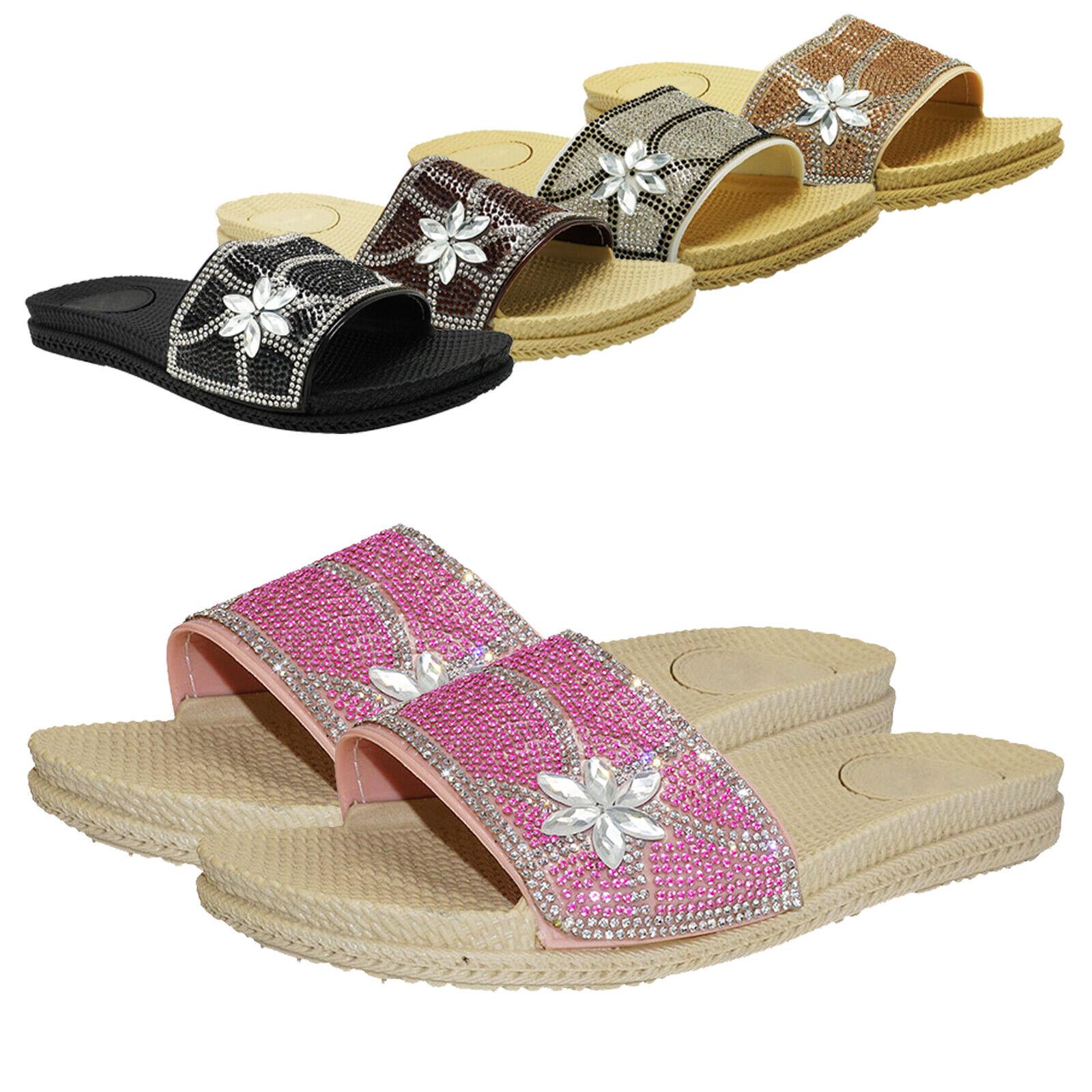 Womens Rhinestone Glitter Crystal Slippers Flatform Platform Beach Slide Sandals