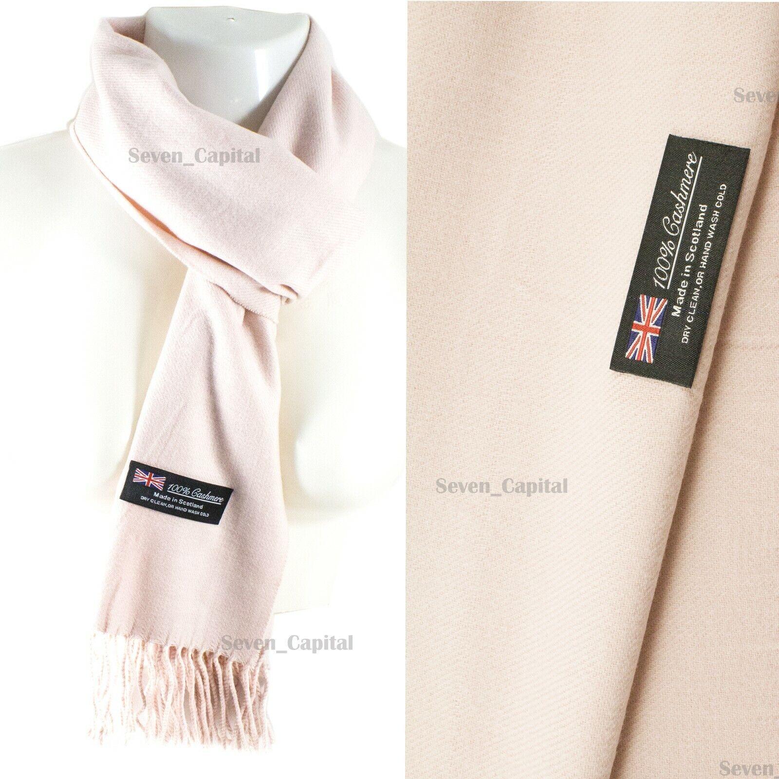Mens Womens Winter Warm SCOTLAND Made 100% CASHMERE Scarf Scarves Plaid Wool 42. Plain: Light Pink