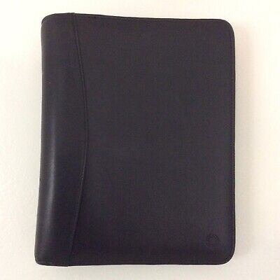 Classic 1.5 Franklin Covey Black Full Grain Leather Zip Planner Binder 7 Ring