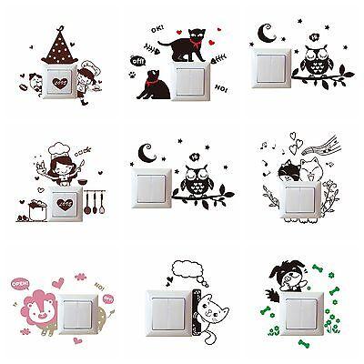 Cute Cartoon Light Switch Socket Wall Stickers Decor Decals Mural Car Room - Car Room Decor