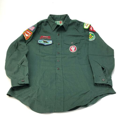 Vintage Boy Scout Explorers and Leadership shirt with patches