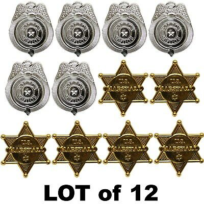 LOT OF 12 - MARSHALL SHERIFF BADGE TOY POLICE WEST COWBOY SILVER PARTY FAVORS (Police Badge Toy)