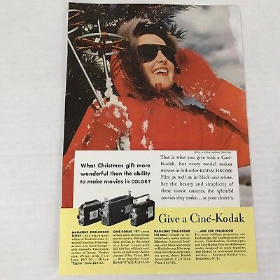 Cine Kodak Vtg 1940 Print Ad Original Full Page Color Advertising Christmas Gift ()
