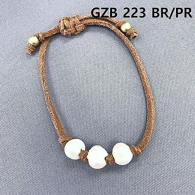 Simple Triple Pearl Accented Brown Color Faux Leather Pull Tie Bangle Bracelet ()