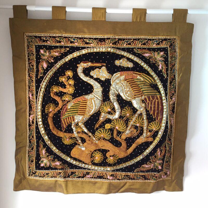 wall hanging kalaga tapestry vintage thai burmese  embroidered bead bird crane