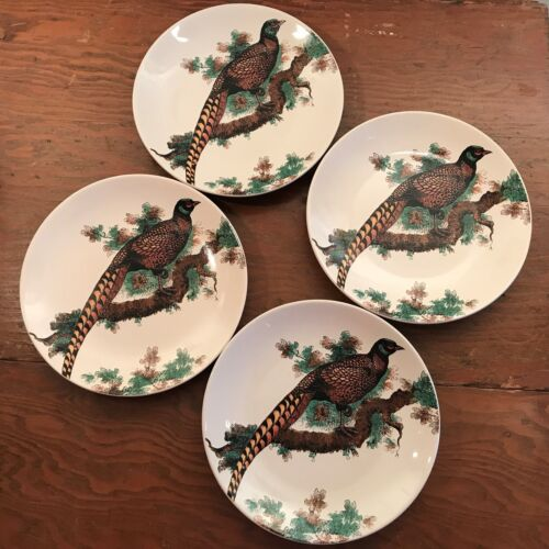 Noble Excellence Pheasant 4 Accent Salad Plates Bird White Coupe Stoneware New