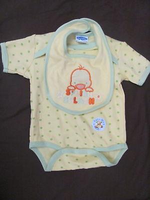 NEW WITH TAGS Bon Bebe Shirt & Bib Set 6-9 Months Yellow & Green Duck