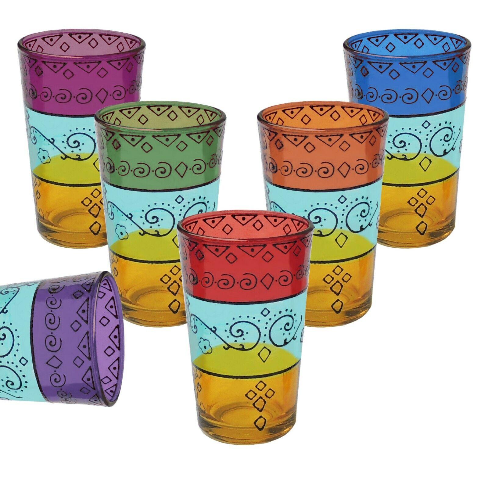 6er Set marokkanische teegläser Alwan - Arabische Orientalische Gläser Orient