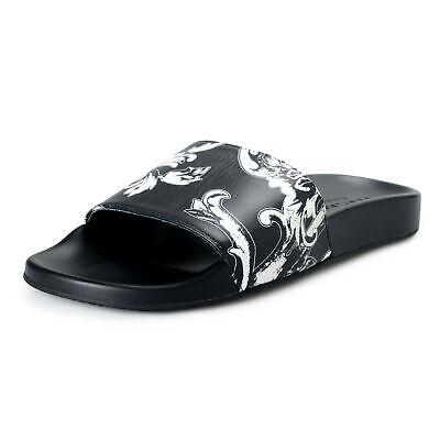 Versace Men's Black Floral Leather Slides Flip Flops Sandals Shoes 6 7 8 9 10 11