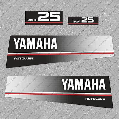 Yamaha 25 HP Autolube Two Stroke Outboard Engine Decals Sticker Set reproduction for sale  Shipping to South Africa