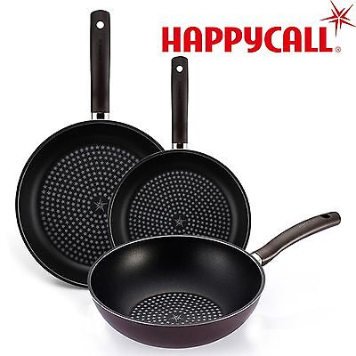 Happycall Non-Stick Diamond Coating Frying Pan Kitchen Cookware Set Steel 3Piece