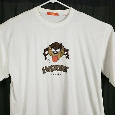 History Iceberg Mens 4XL Taz Embroidered White Casual Tee Shirt