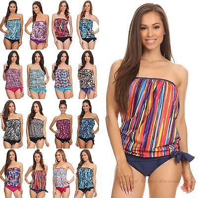 Women Two Piece Bandeau Blouson Top Tankini Swimsuit Size...
