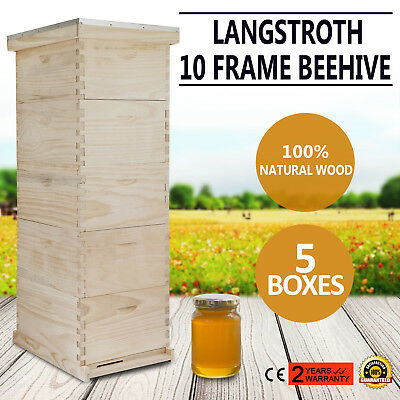 Langstroth Bee Hive 10 Frame 5 Box Free Shipping