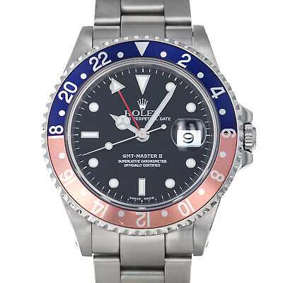 Rolex 16710 P GMT Master II Pepsi Holes Case Stainless Steel Swiss Automatic