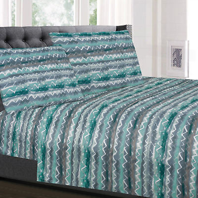 Summerset Green Zig Zag Printed 4-Piece 1500 Supreme Collection Sheet (Summerset Collection)