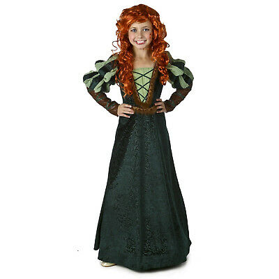 Girls Kids Brave Forest Princess Merida Green Halloween Cosplay Costume - Girls Princess Halloween Costumes