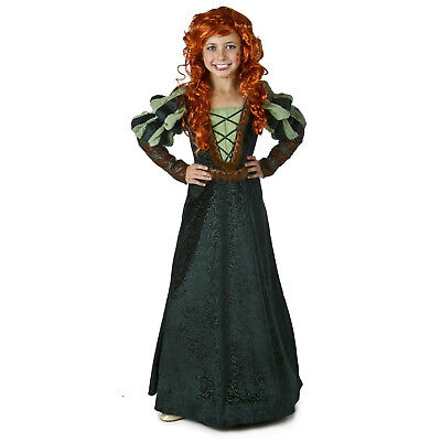 Girls Kids Brave Forest Princess Merida Green Halloween Cosplay Costume Dress - Brave Merida Dress