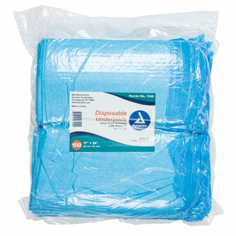 "Dynarex Disposable Underpads Fluff 17X24"" 1340 100 pads"