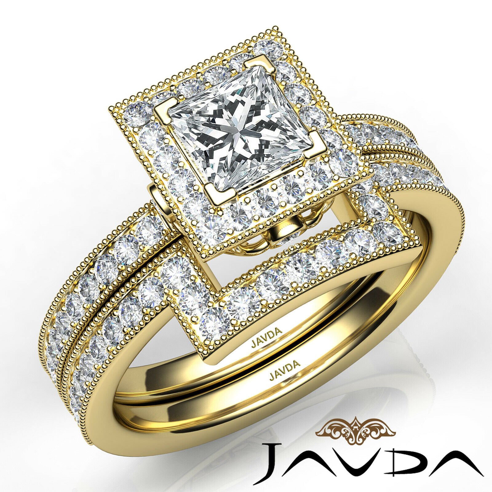 1.9ct Milgrain Edge Bridal Set Princess Diamond Engagement Ring GIA F-VS2 W Gold 9