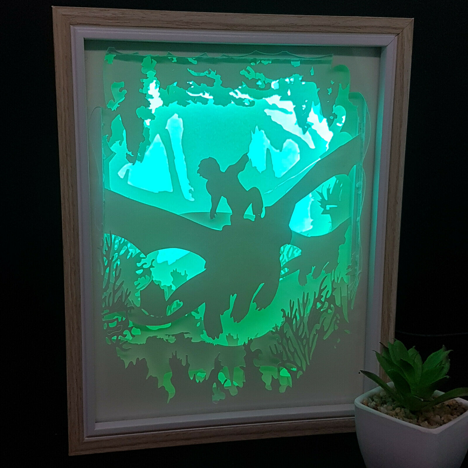 DRAGONS   inspired papercut shadow box, night light - DIGITAL TEMPLET PDF,SVG... 1
