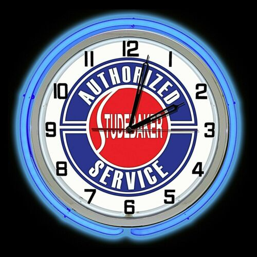 "19"" Studebaker Service Blue Double Neon Clock Chrome Man Cave Garage"