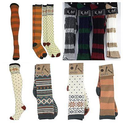 Women O'Neill Knee High & K.Bell Knee High Socks Cute Design Pattern Vintage Dot