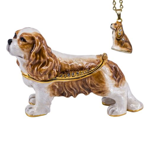 Bejeweled Enameled Pewter Cavalier King Charles Spaniel Trinket Box w/Necklace