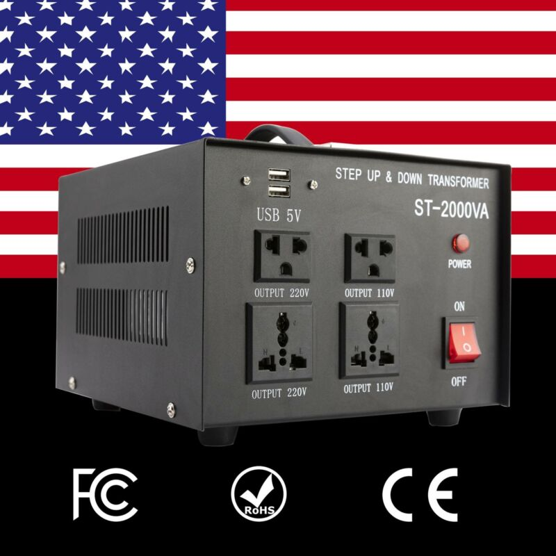 2000W Converter Transformer Step Up Down Heavy Duty 110V ⇋