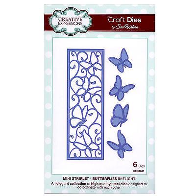Craft Die CED1611 Sue Wilson Striplet Collection - Butterflies In Flight