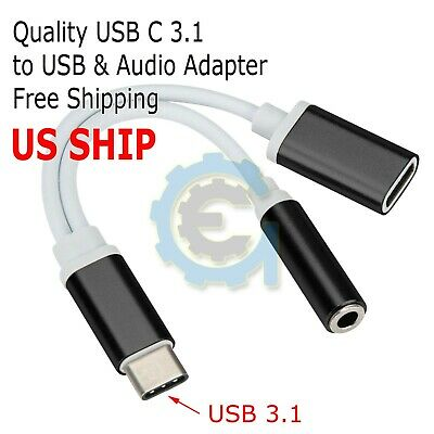 USB Type C To 3.5mm Aux Audio Charging Cable Adapter Splitter Headphone Jack US 3.5 Mm Jack Usb