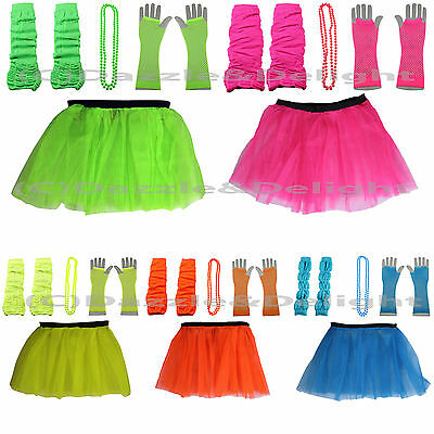 NEON FANCY DRESS TUTU GLOVES LEG WARMERS AND BEADS 1980S HEN PARTY COSTUME 80 UV (1980 S Costumes)