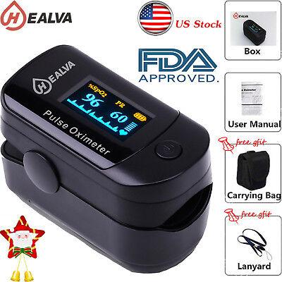 Finger Oximeter - SpO2 PR Finger tip Pulse Oximeter Blood Oxygen Heart Rate Monitor Pouch& Lanyard