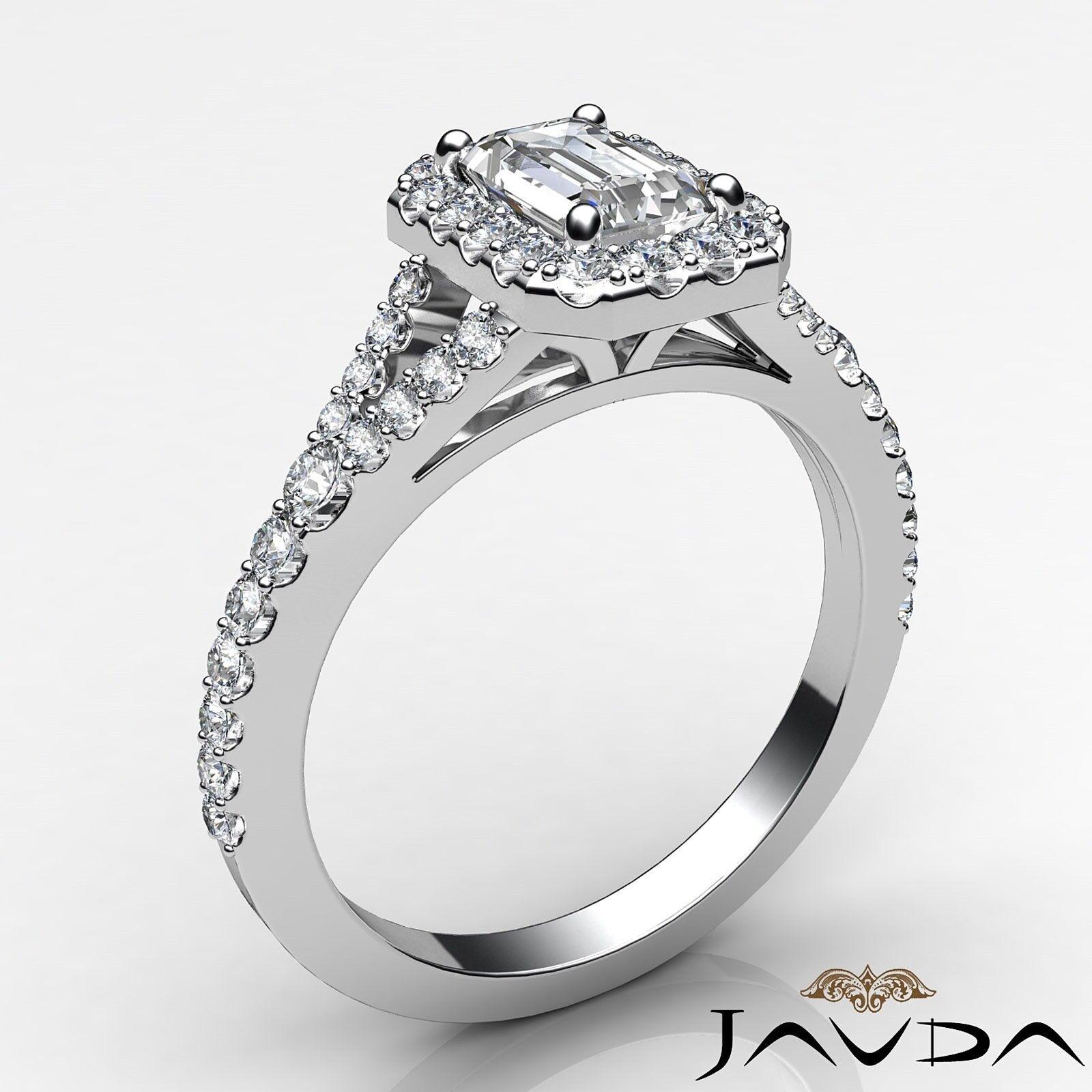 1.23ctw Halo U Pave Stone Emerald Diamond Engagement Ring GIA H-SI1 White Gold 1