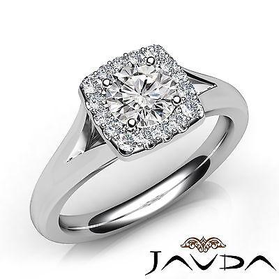 Split Shank Halo Round Diamond Engagement French Pave Set Ring GIA F VVS2 0.91Ct