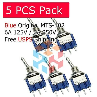 Us 5 X Mini 6a 125v Ac Spdt Mts-102 3pin 2 Position On-on Toggle Switch Practic