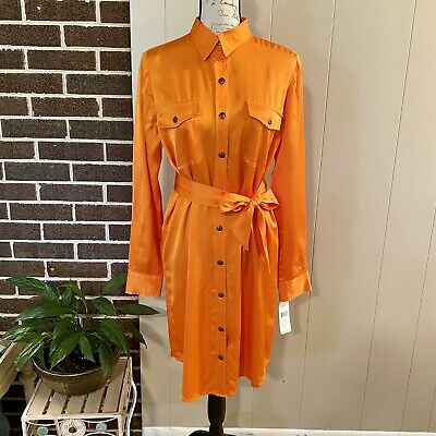 LAUREN RALPH LAUREN WOMEN BELT BUTTON DOWN MILITARY SHIRT DRESS ORANGE SIZE 8