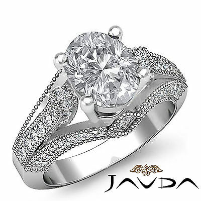 Milgrain Edge Pave Oval Shape Diamond Engagement Ring GIA Certified G SI1 1.8 Ct