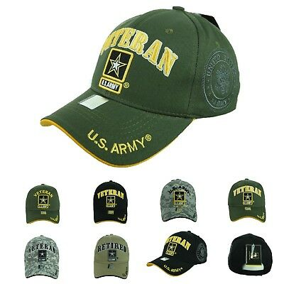 USA Army Baseball Cap US Army Veteran Retired CAMO Hat Official Licensed Caps