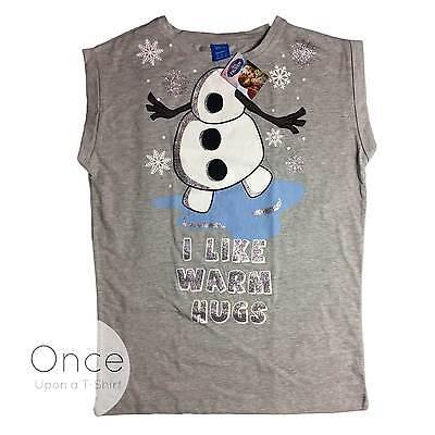 ney Frozen Olaf Ich Mag Warm Hugs Glitzer Shirt von Primark (Disney Frozen Erwachsenen)