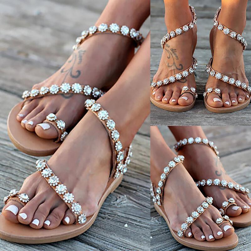Women Bohemia Rhinestone Glitter Sandals Beach Flip Flops Sl