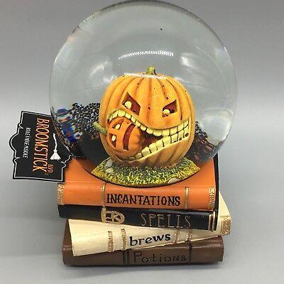 Halloween Musical Water Snow Globe Pumpkin Eating Cannibal Spell Books - Halloween Water Globes
