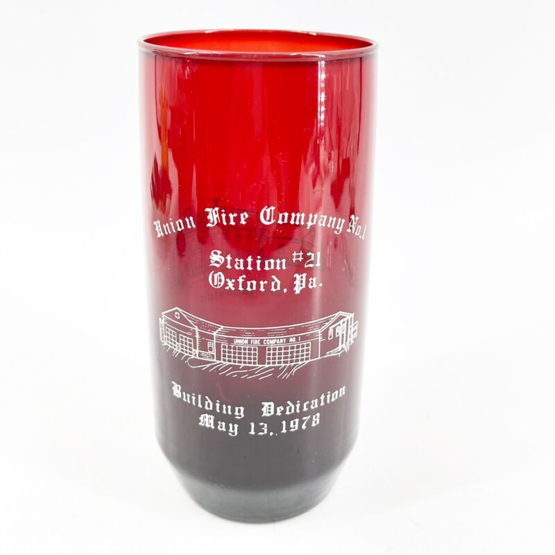 Vintage Fire Department Glass 1978 Union Fire Company NO. 1 Building Dedication