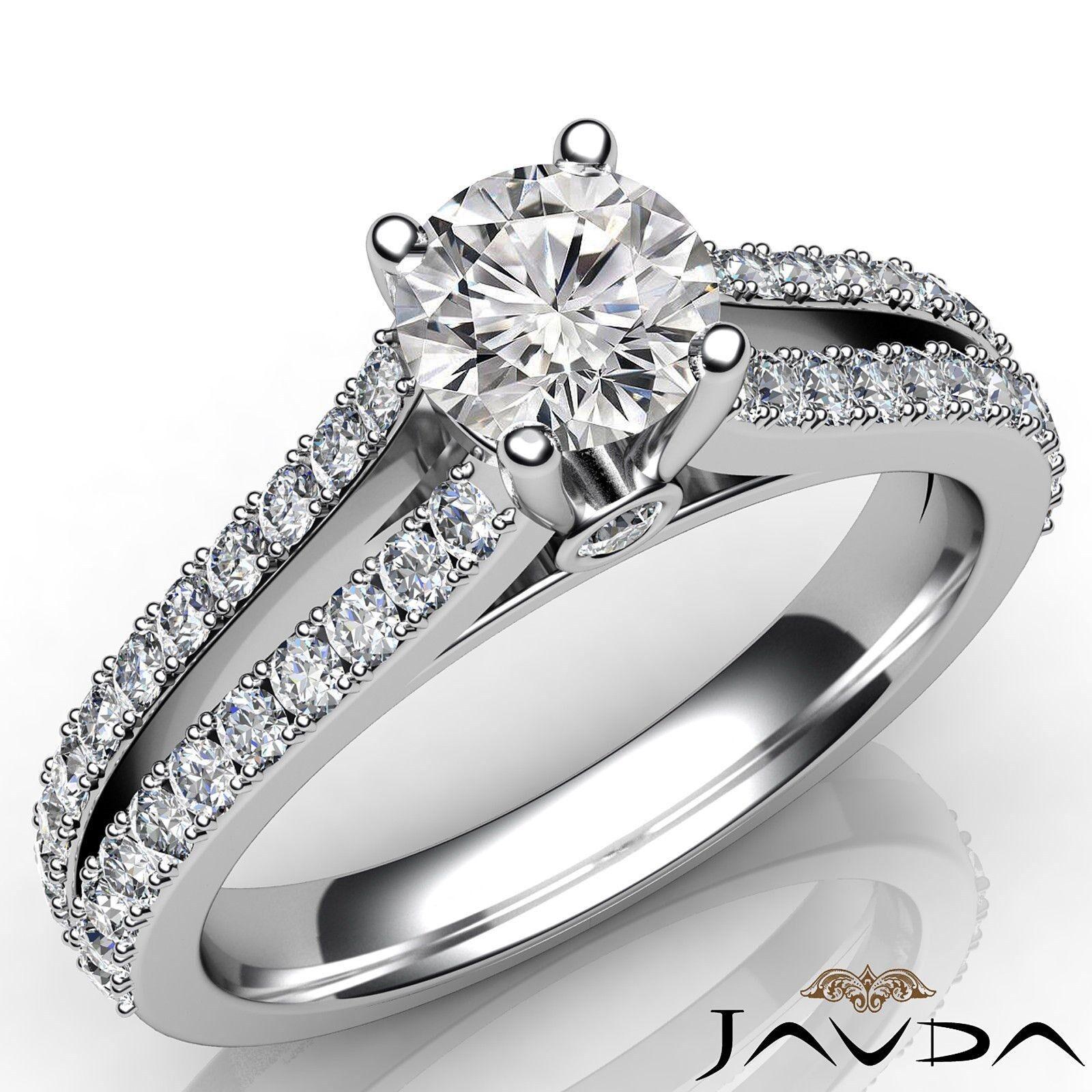 Split Shank French V Pave Round Diamond Engagement Bezel Ring GIA D VS1 1.15 Ct